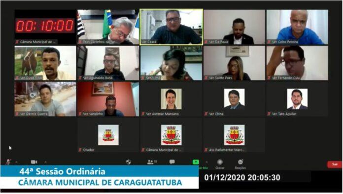 Vereadores durante sessão online na Câmara de Caraguatatuba (Foto: Reprodução)